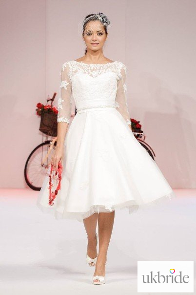 Cutting Edge Brides - Ivory - Tea - Sleeved - A-Line - Ivory Sleeved ...
