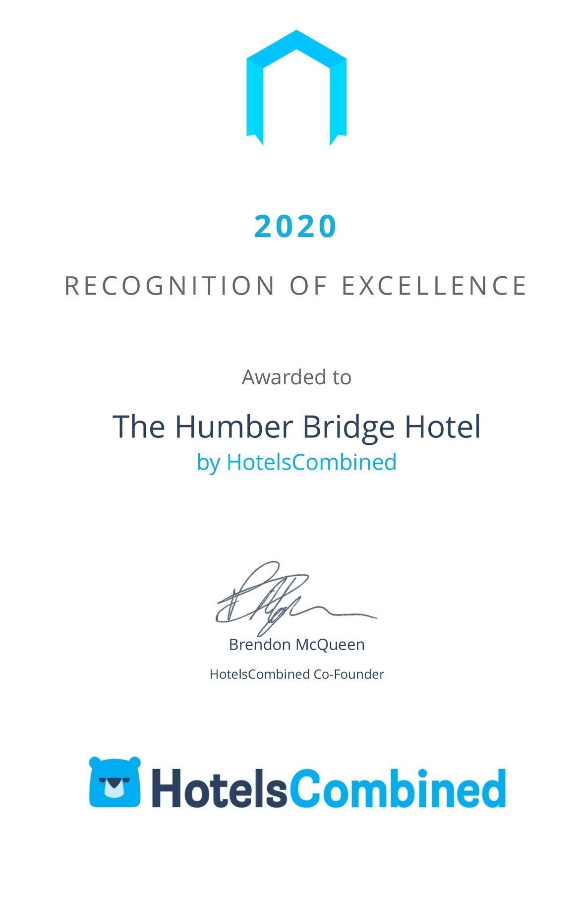 Rewarded by HotelsCombined - Recognition of Excellence regarding our customer reviews.
