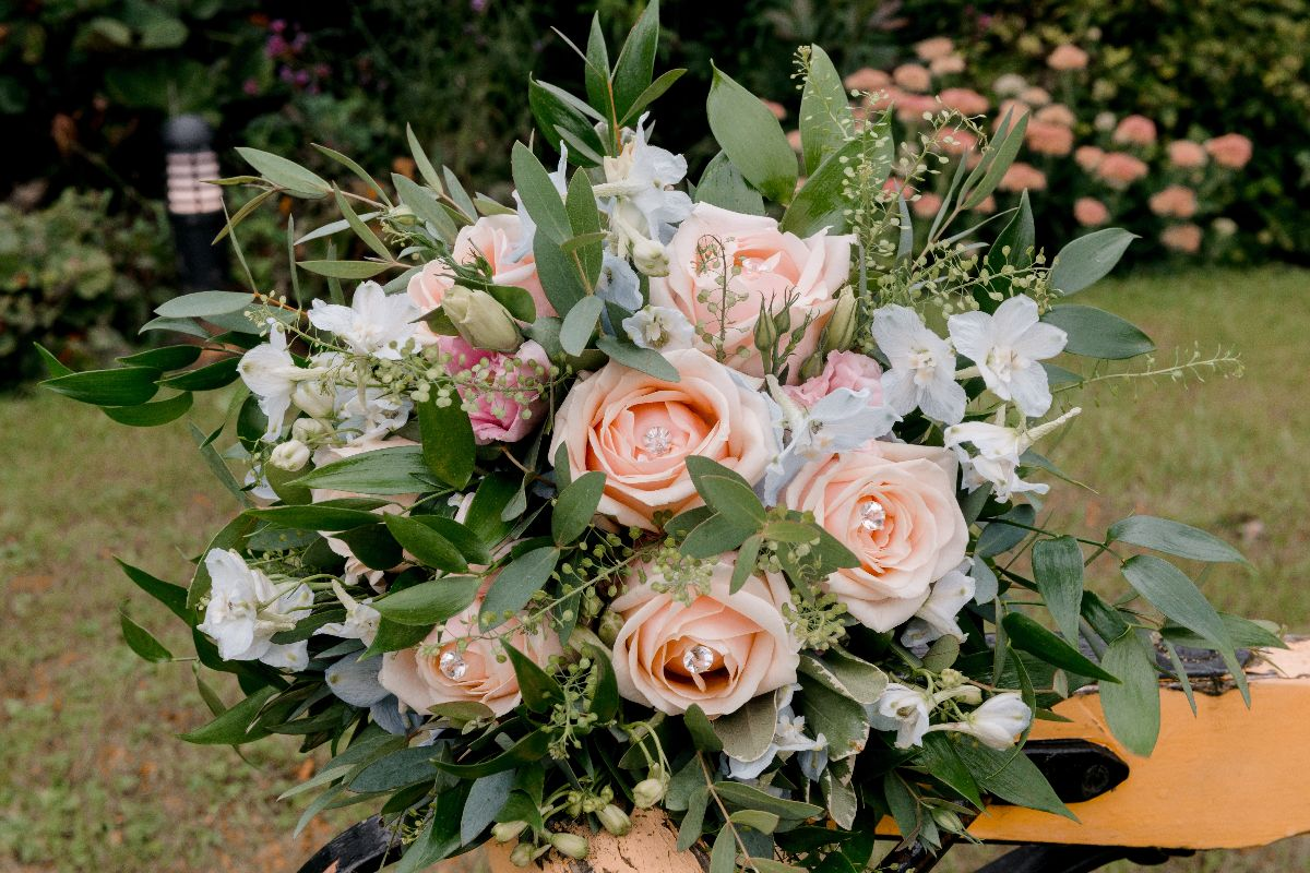 Beautiful seasonal bridal bouquet by Sally's Floral Studio